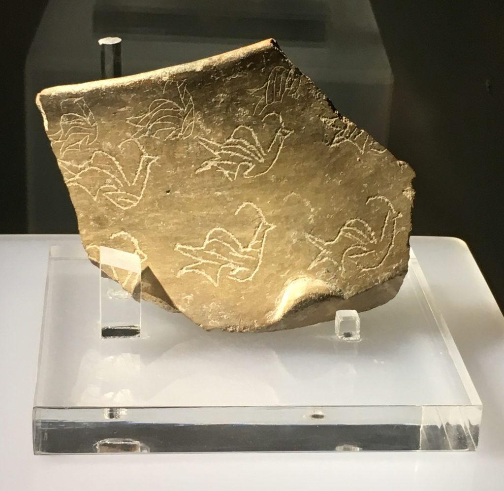 Fragment of bowl with bird motif, at Ġgantija, Gozo