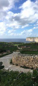 Sanap Cliffs - The country lane that leads to Xlendi