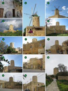 Windmills across the island of Gozo