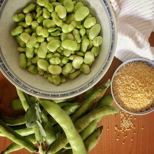 Green Beans and Kusksu Pasta Beads