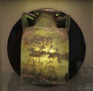 A glass funerary urn