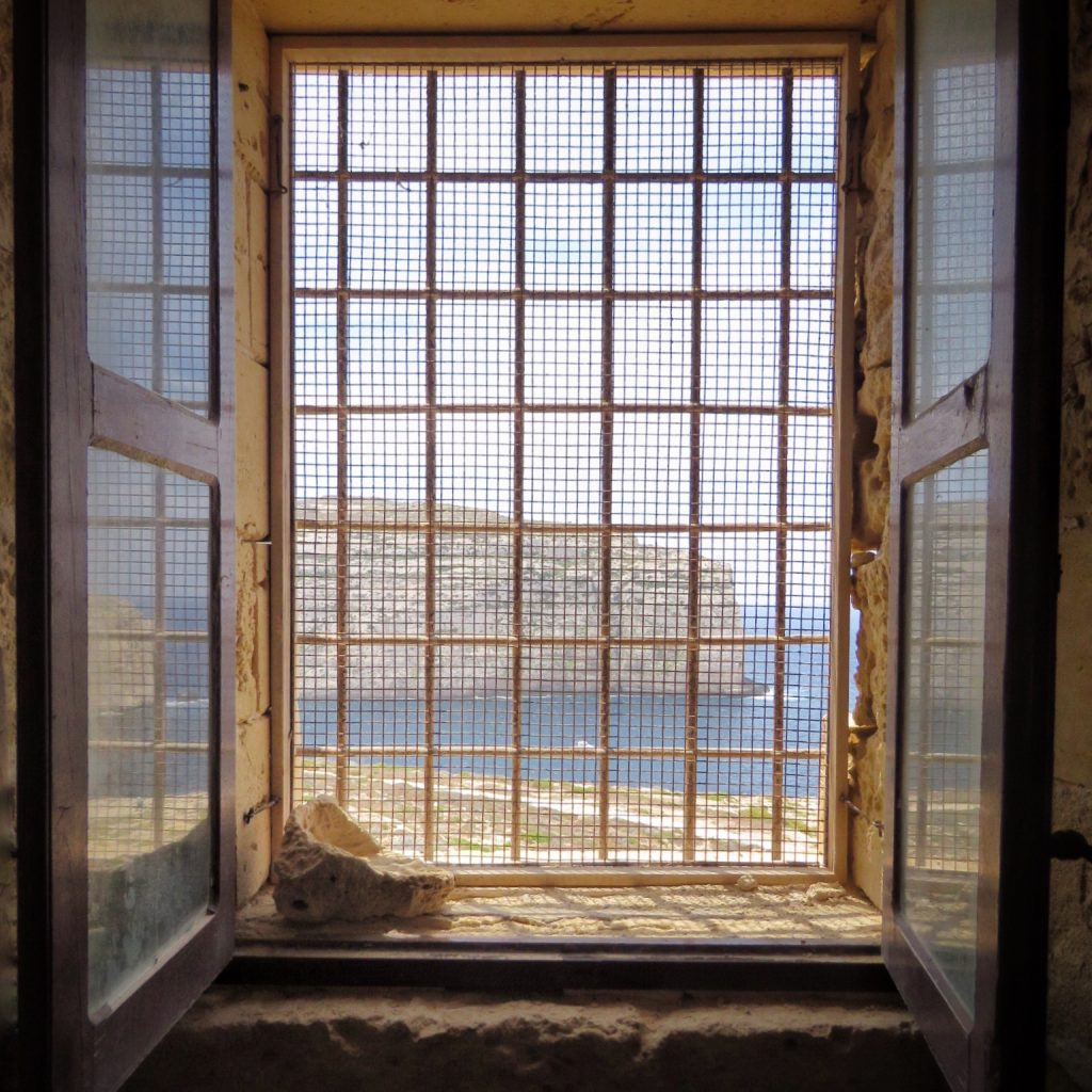 A view from inside the Dwejra coastal tower