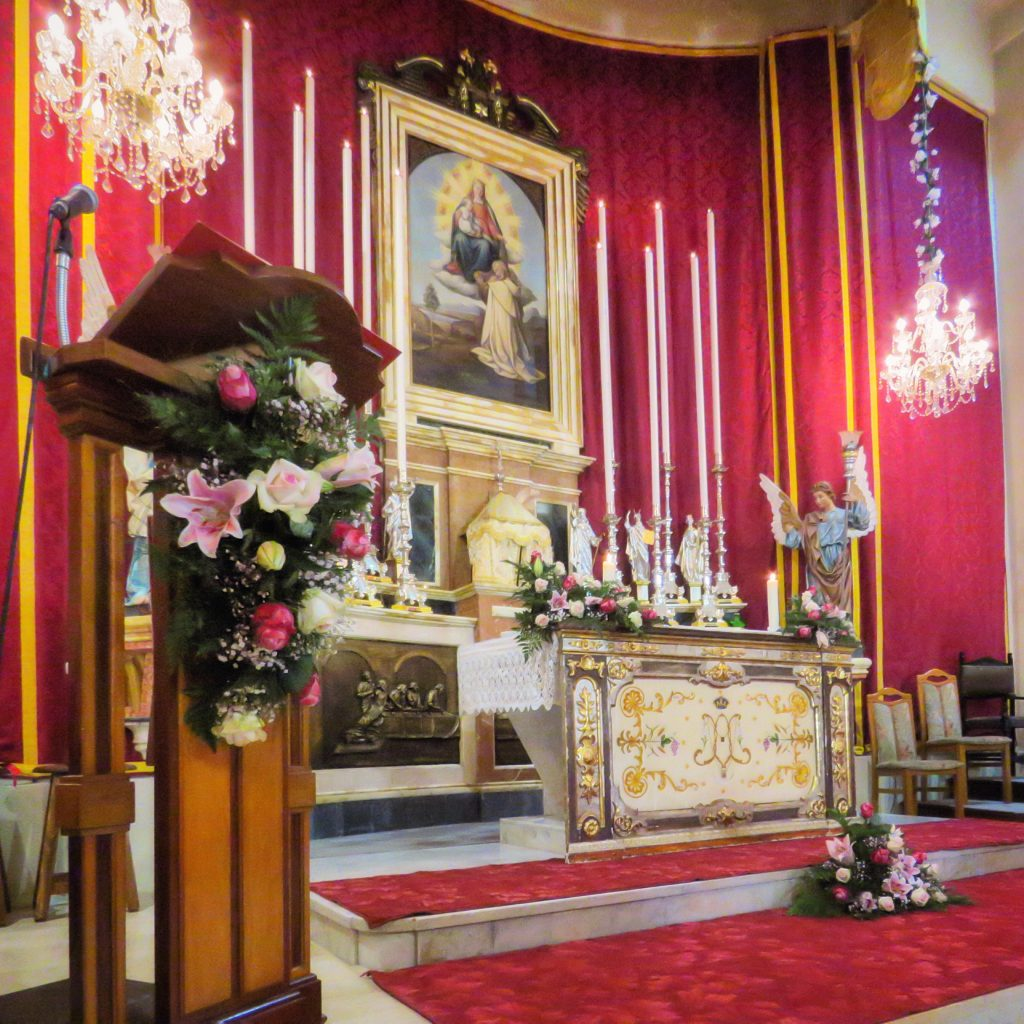 The church interior decorated for the Feast Day.