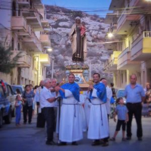 The procession with Our Lady of Mount Carmel through the streets of Xlendi.