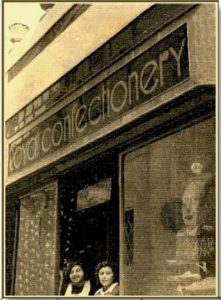 Old photo of a confectionery shop in Gozo