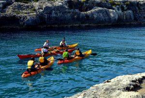 Kayaking along the coast of the island of Gozo