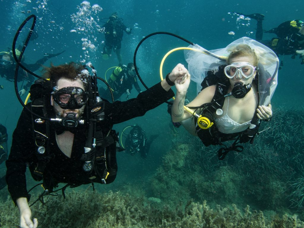 Gozo diving underwater wedding