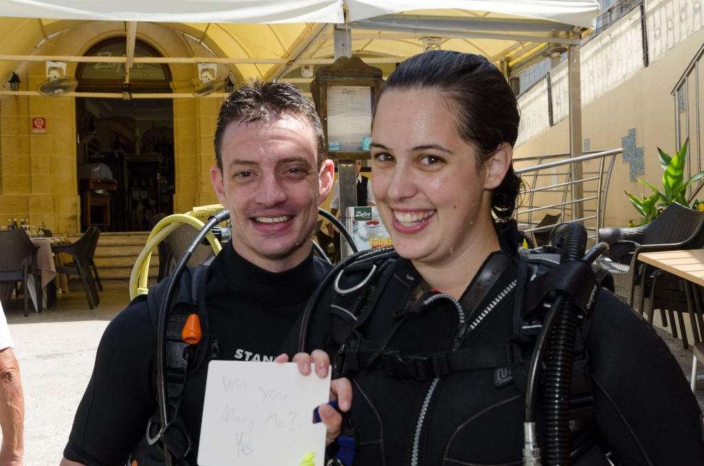 Gozo diving underwater wedding proposal